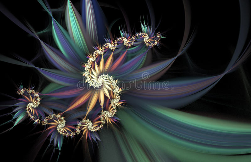 εξωτικά λουλούδια Αφηρημένη πολύχρωμη σπείρα στο μαύρο υπόβαθρο διανυσματική απεικόνιση