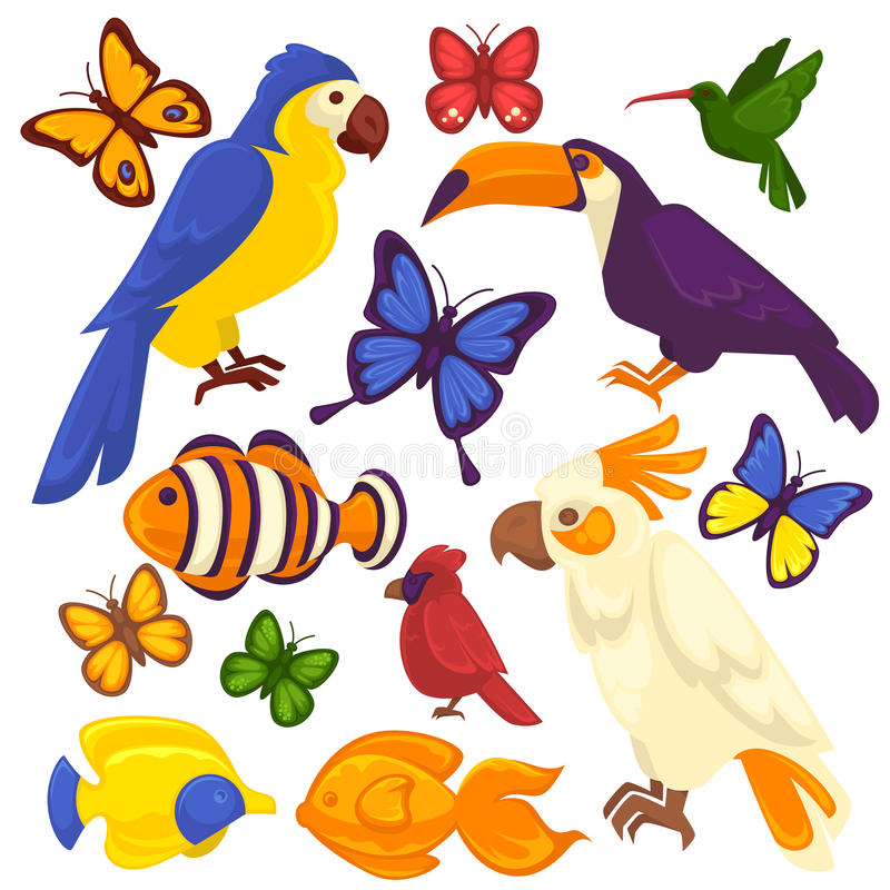 Εξωτικά πουλιά, τροπικά ψάρια και διανυσματικά εικονίδια πεταλούδων καθορισμένα ελεύθερη απεικόνιση δικαιώματος