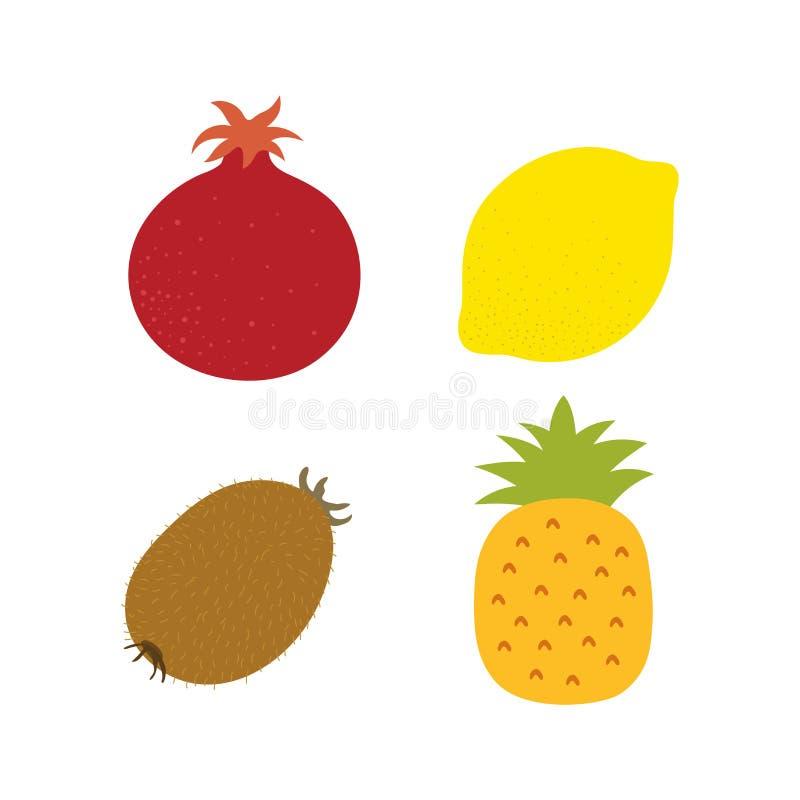 Εξωτικά φρούτα Γρανάτης, λεμόνι, ακτινίδιο και ανανάς Συρμένο χέρι doodle διανυσματικό σκίτσο Θερινά γλυκά τρόφιμα απεικόνιση αποθεμάτων