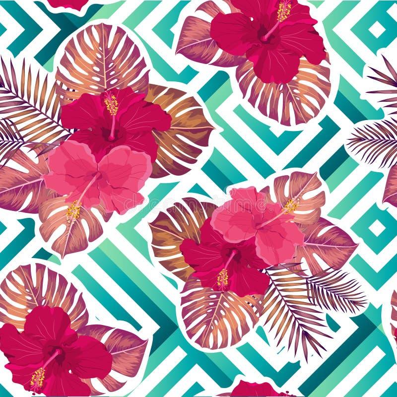 Εξωτικά φύλλα και λουλούδια στη γεωμετρική διακόσμηση Άνευ ραφής τροπικό σχέδιο Διανυσματικό υπόβαθρο ελεύθερη απεικόνιση δικαιώματος