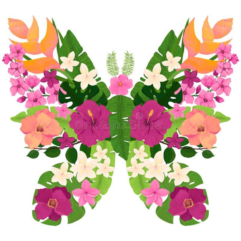 Εξωτική πεταλούδα με τα τροπικά λουλούδια και τα φύλλα διανυσματική απεικόνιση