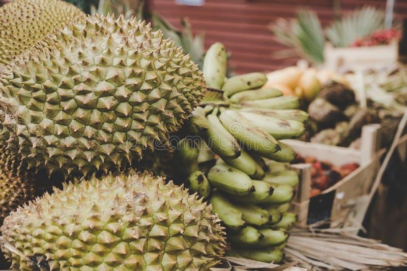 εξωτικοί καρποί τροπικοί Durian, jackfruit και μπανάνες στην αγορά τροφίμων οδών στοκ εικόνες με δικαίωμα ελεύθερης χρήσης