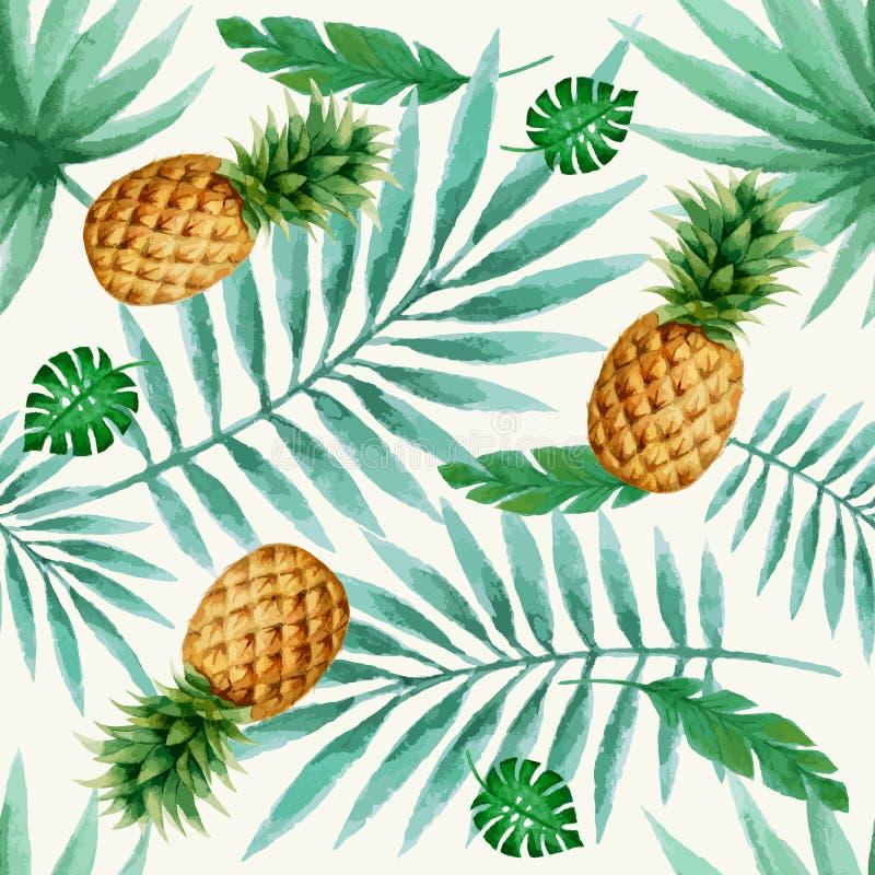 Εξωτικό άνευ ραφής σχέδιο φρούτων, watercolor απεικόνιση αποθεμάτων