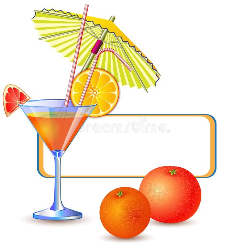 Εξωτικό έμβλημα με το φρέσκο ποτήρι του χυμού διανυσματική απεικόνιση