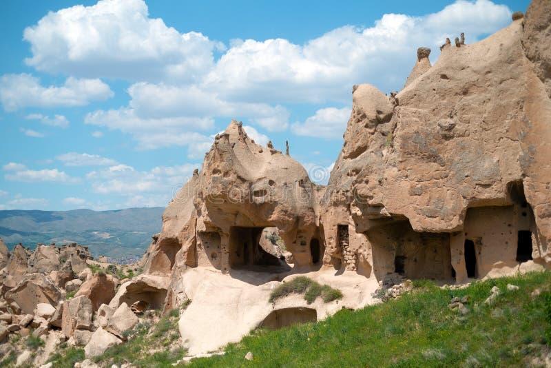 εξωτικό εσωτερικό σπιτιών γεωγραφίας σχηματισμών κώνων cappadocia goreme του όπως το βράχο διάφορη Τουρκία στοκ φωτογραφία με δικαίωμα ελεύθερης χρήσης