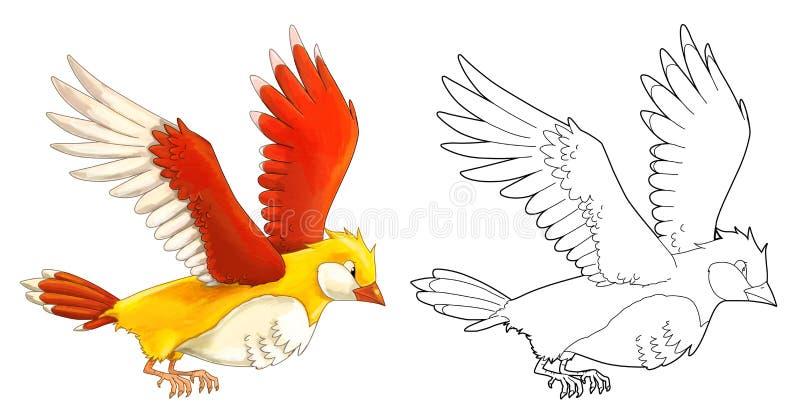 Εξωτικό ζωηρόχρωμο πουλί κινούμενων σχεδίων - που πετά - που απομονώνεται - με το χρωματισμό της σελίδας ελεύθερη απεικόνιση δικαιώματος
