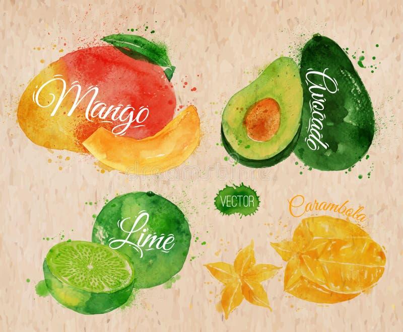 Εξωτικό μάγκο watercolor φρούτων, αβοκάντο, carambola διανυσματική απεικόνιση