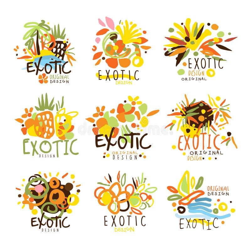 Εξωτικό σύνολο λογότυπων προτύπων σχεδίου θερινών διακοπών ζωηρόχρωμο γραφικό, συρμένα χέρι διανυσματικά διάτρητα διανυσματική απεικόνιση
