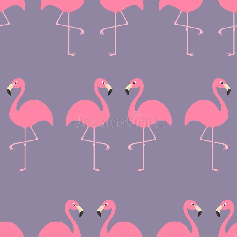 Εξωτικό τροπικό πουλί σχεδίων φλαμίγκο άνευ ραφής Ζωική συλλογή ζωολογικών κήπων Χαριτωμένος χαρακτήρας κινουμένων σχεδίων Στοιχε διανυσματική απεικόνιση