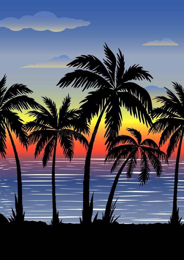 Εξωτικό τροπικό τοπίο με τους φοίνικες Φοίνικες στο ηλιοβασίλεμα ή το σεληνόφωτο Seascape r απεικόνιση αποθεμάτων