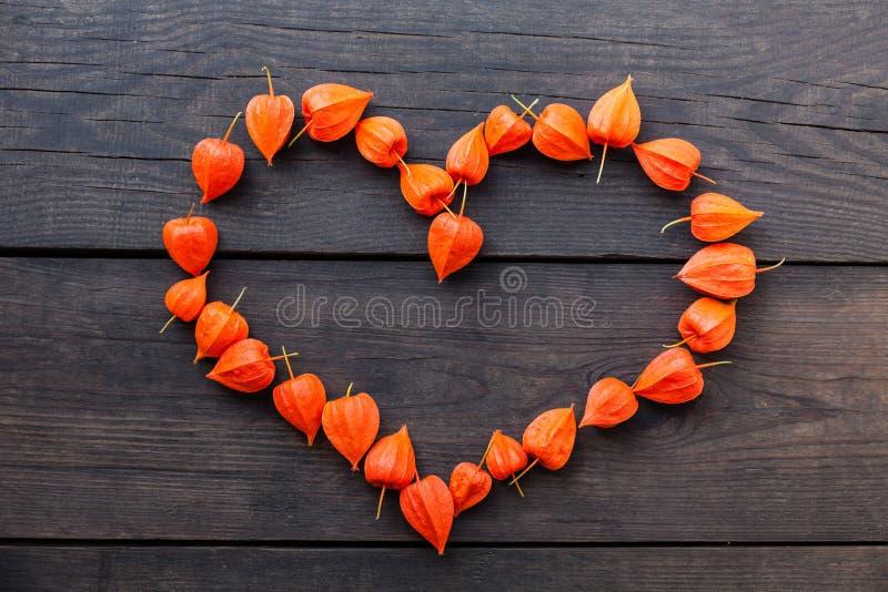 Εξωτικό υπόβαθρο φρούτων physalis φθινοπώρου, πορτοκαλιά καρδιά στοκ φωτογραφία