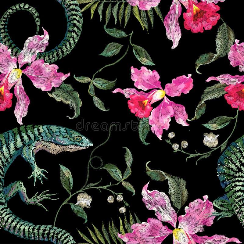 Εξωτικό floral σχέδιο κεντητικής με τις σαύρες και το τροπικό λουλούδι διανυσματική απεικόνιση