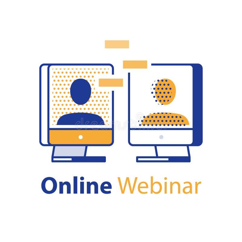 Εξ'αποστάσεως εκμάθηση, webinar έννοια, σε απευθείας σύνδεση επικοινωνία, σεμινάριο Διαδικτύου, συνεδρίαση του Ιστού, δύο άνθρωπο διανυσματική απεικόνιση