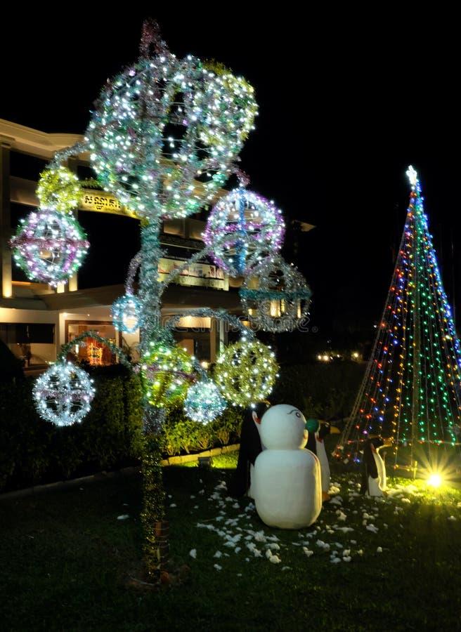 Εορτασμοί Χριστουγέννων στις χώρες με τα θερμά κλίματα Διακοσμήσεις Χριστουγέννων σε ένα πράσινο στοκ φωτογραφίες