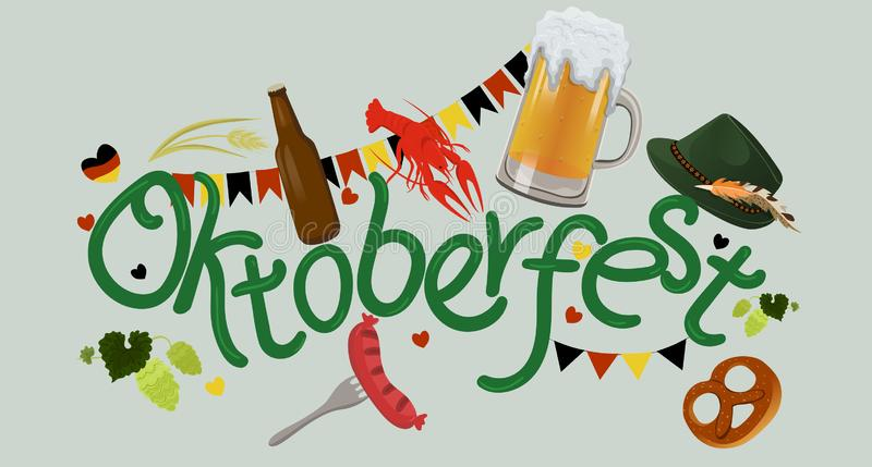 Εορτασμός γεγονότος προτύπων σχεδίου Διανυσματικό σχέδιο τίτλου τυπογραφίας Oktoberfest για τις ευχετήριες κάρτες και την αφίσα Μ ελεύθερη απεικόνιση δικαιώματος