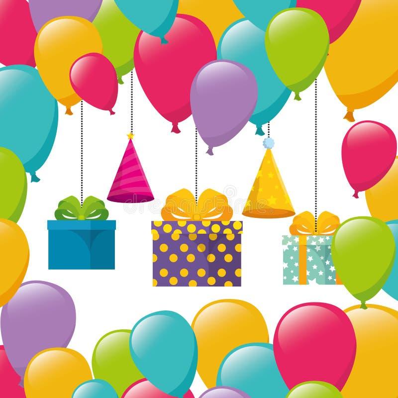 Εορτασμός γενεθλίων με το ήλιο δώρων και μπαλονιών διανυσματική απεικόνιση