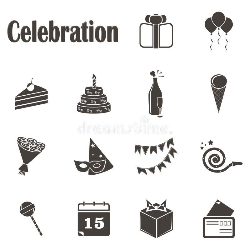 Εορτασμός δεκατεσσάρων μονοχρωματικός εικονιδίων στοκ εικόνες