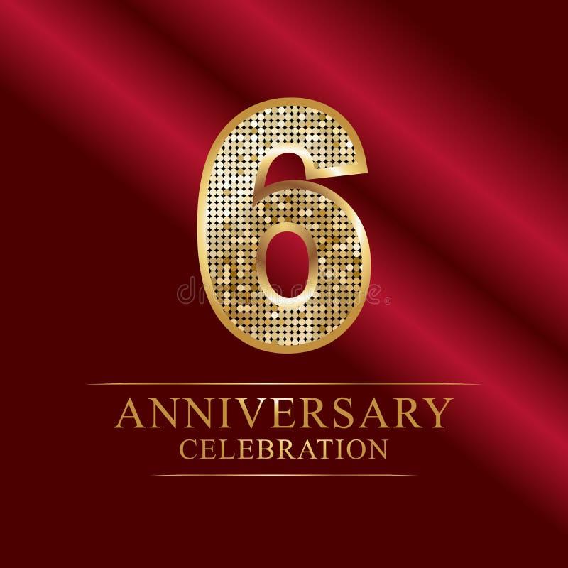 Εορτασμός επετείου logotype 6ο λογότυπο επετείου αριθμοί disco διανυσματική απεικόνιση