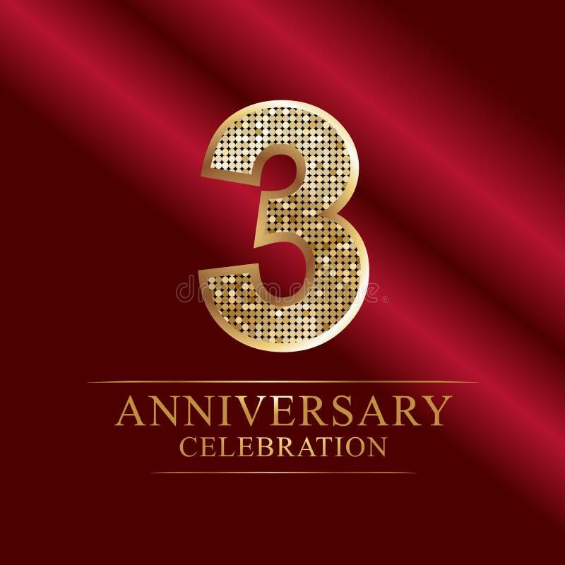 Εορτασμός επετείου logotype 3$ο λογότυπο επετείου αριθμοί disco διανυσματική απεικόνιση