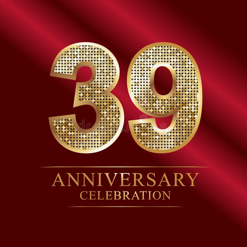 Εορτασμός επετείου logotype 39ο λογότυπο επετείου αριθμοί disco διανυσματική απεικόνιση