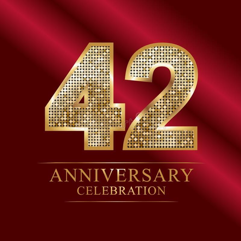 Εορτασμός επετείου logotype 42$ο λογότυπο επετείου αριθμοί disco ελεύθερη απεικόνιση δικαιώματος
