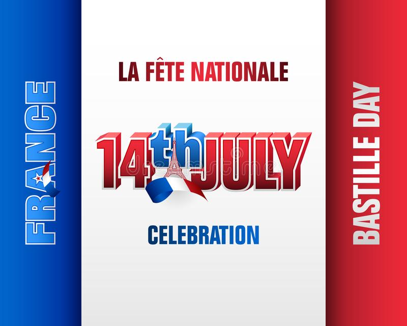 Εορτασμός 14ος της εθνική μέραης Ιουλίου, της Γαλλίας, ημέρα Bastille διανυσματική απεικόνιση