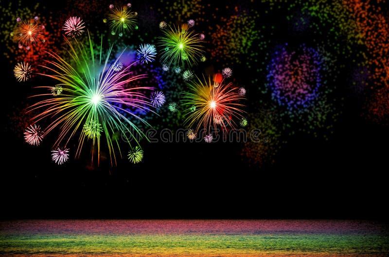 Εορτασμός πυροτεχνημάτων ουράνιων τόξων στο σκοτεινό υπόβαθρο στοκ εικόνες