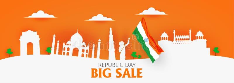 Εορτασμός της Ινδίας ημέρας Δημοκρατίας στις 26 Ιανουαρίου απεικόνιση αποθεμάτων