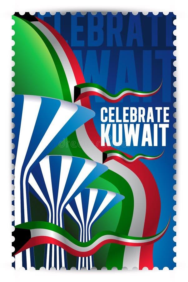 Εορτασμός του Κουβέιτ - Συμβολικοί πύργοι νερού και σφραγίδα σημαιών διανυσματική απεικόνιση