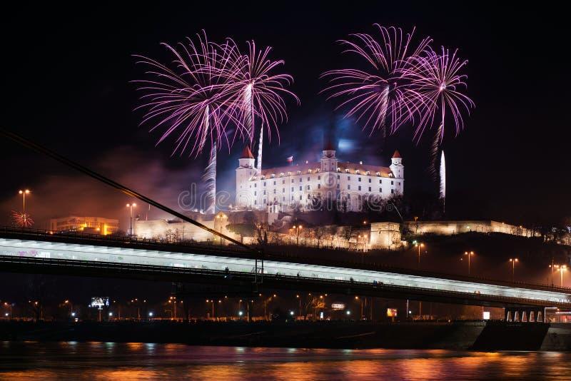 Εορτασμός του νέου έτους στη Μπρατισλάβα, Σλοβακία στοκ εικόνες