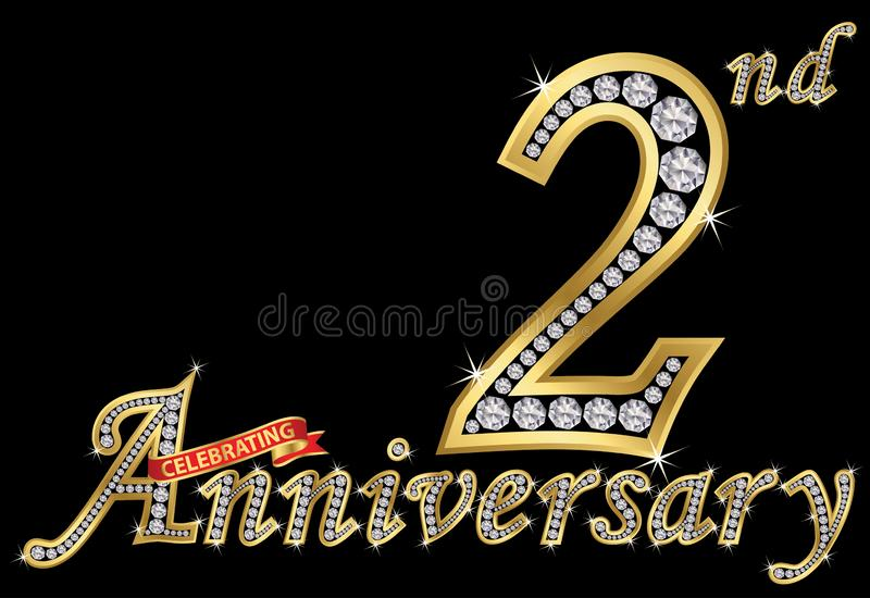 Εορτασμός του 2$ου χρυσού σημαδιού επετείου με τα διαμάντια, διανυσματικό IL απεικόνιση αποθεμάτων
