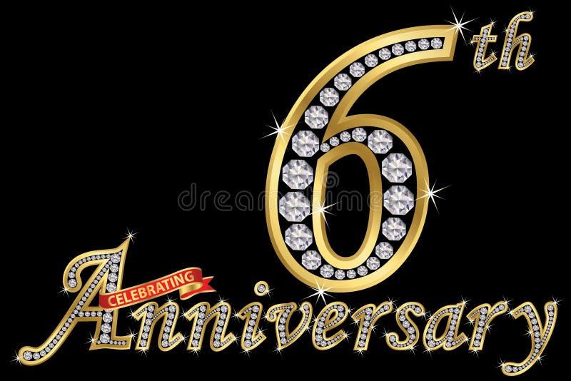 Εορτασμός του χρυσού σημαδιού 6ης επετείου με τα διαμάντια, διάνυσμα ι απεικόνιση αποθεμάτων