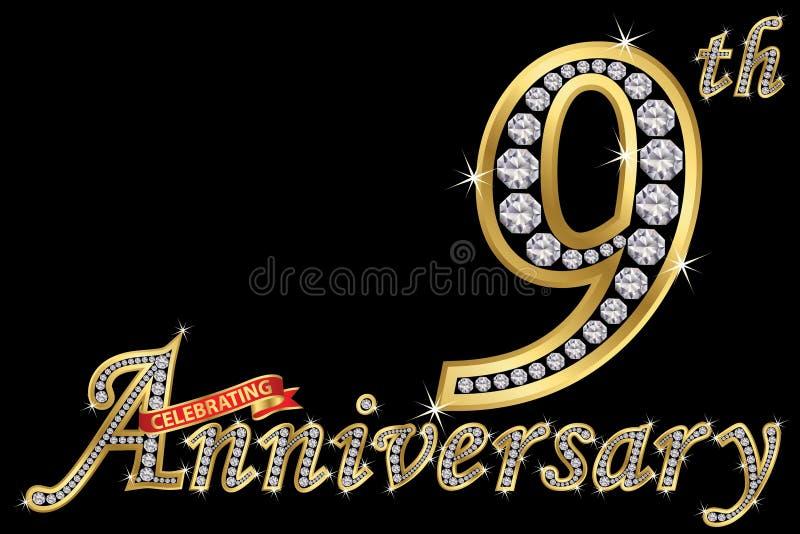Εορτασμός του χρυσού σημαδιού 9ης επετείου με τα διαμάντια, διάνυσμα ι απεικόνιση αποθεμάτων