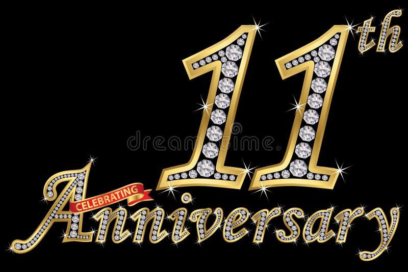 Εορτασμός του χρυσού σημαδιού 11ης επετείου με τα διαμάντια, διάνυσμα ελεύθερη απεικόνιση δικαιώματος