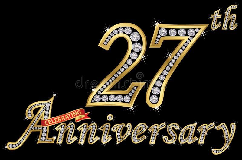 Εορτασμός του χρυσού σημαδιού 27ης επετείου με τα διαμάντια, διάνυσμα απεικόνιση αποθεμάτων