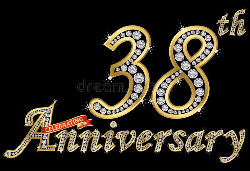 Εορτασμός του χρυσού σημαδιού 38ης επετείου με τα διαμάντια, διάνυσμα απεικόνιση αποθεμάτων
