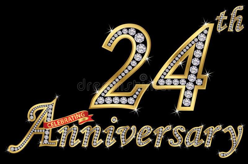 Εορτασμός του χρυσού σημαδιού 24ης επετείου με τα διαμάντια, διάνυσμα ελεύθερη απεικόνιση δικαιώματος