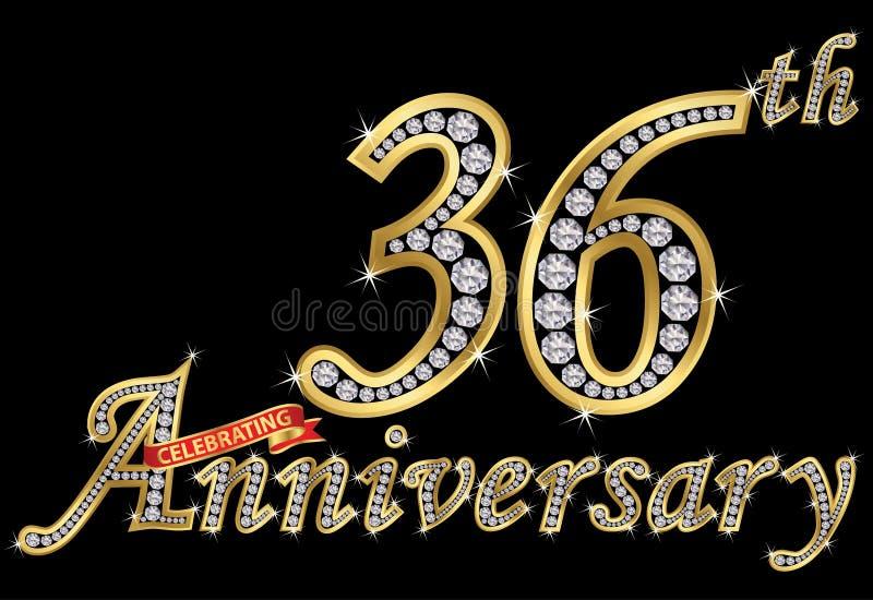 Εορτασμός του χρυσού σημαδιού 36ης επετείου με τα διαμάντια, διάνυσμα απεικόνιση αποθεμάτων
