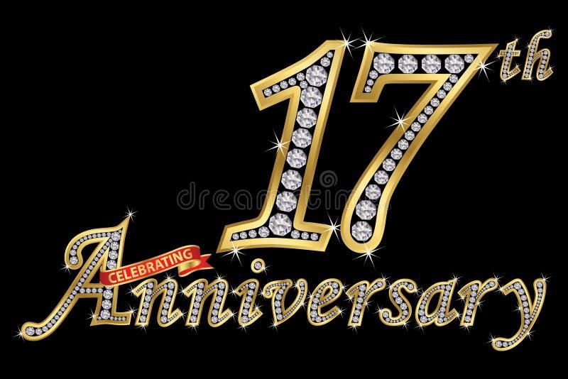 Εορτασμός του χρυσού σημαδιού 17ης επετείου με τα διαμάντια, διάνυσμα απεικόνιση αποθεμάτων