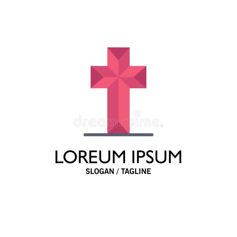 Εορτασμός, Χριστιανός, σταυρός, πρότυπο επιχειρησιακών λογότυπων Πάσχας Επίπεδο χρώμα ελεύθερη απεικόνιση δικαιώματος