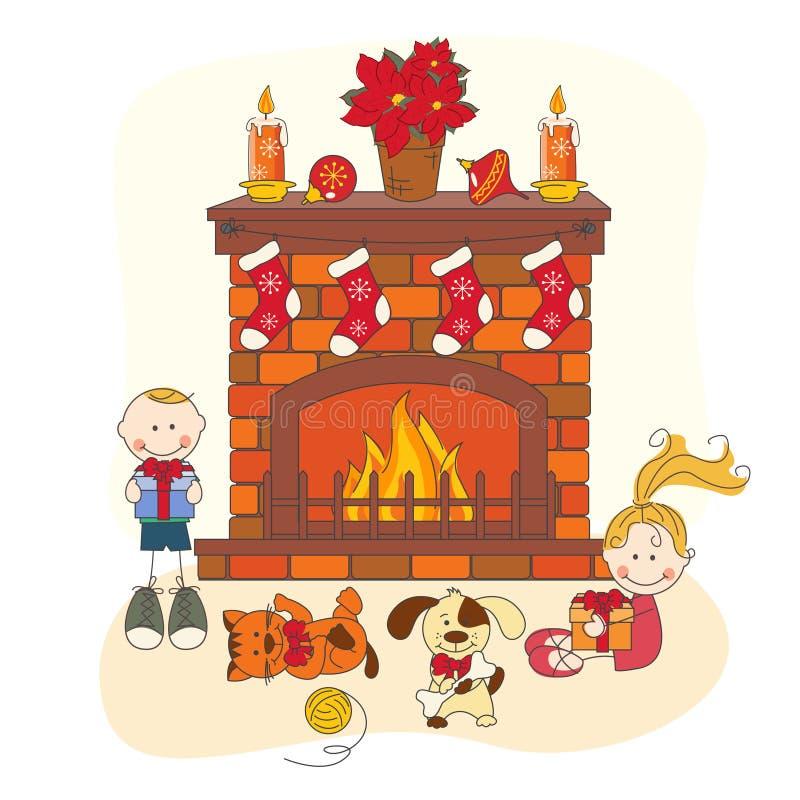 Εορτασμός Χριστουγέννων. Παιδιά και κατοικίδια ζώα. απεικόνιση αποθεμάτων