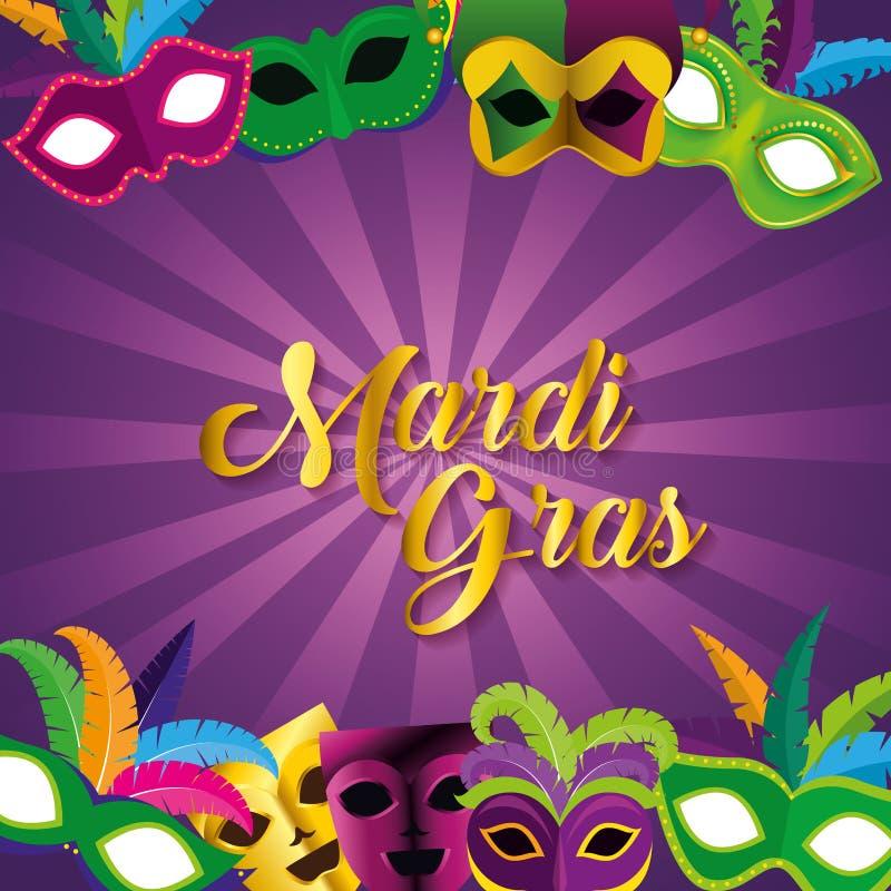 Εορτασμός gras της Mardi με τις μάσκες κομμάτων φεστιβάλ ελεύθερη απεικόνιση δικαιώματος