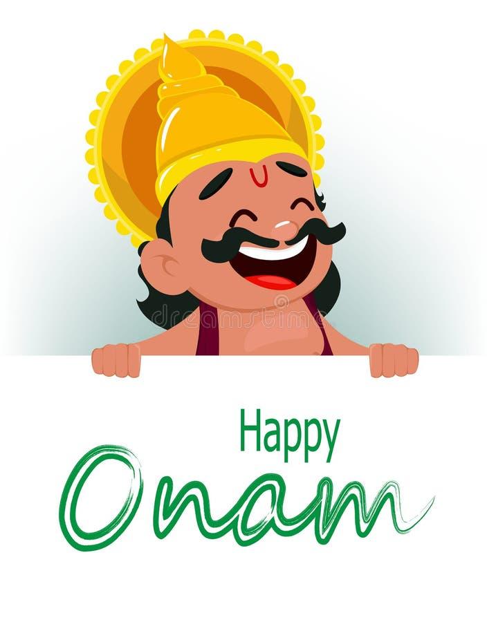 Εορτασμός Onam Αφίσσα εκμετάλλευσης Mahabali βασιλιάδων με τους χαιρετισμούς, εύθυμος χαρακτήρας κινουμένων σχεδίων διανυσματική απεικόνιση