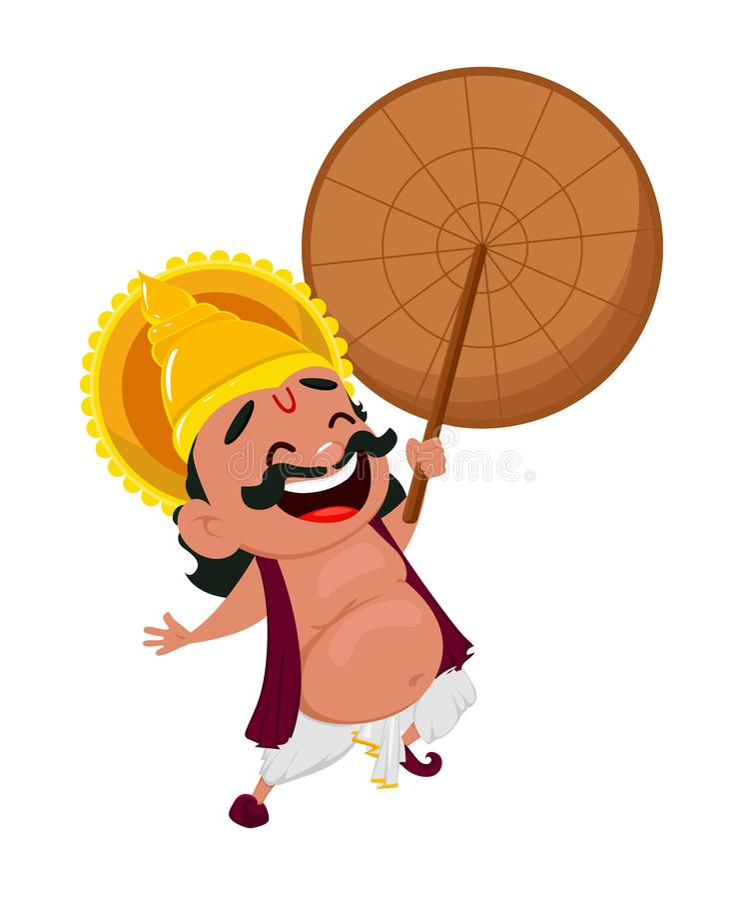 Εορτασμός Onam Ομπρέλα εκμετάλλευσης Mahabali βασιλιάδων γέλιου, εύθυμος χαρακτήρας κινουμένων σχεδίων διανυσματική απεικόνιση