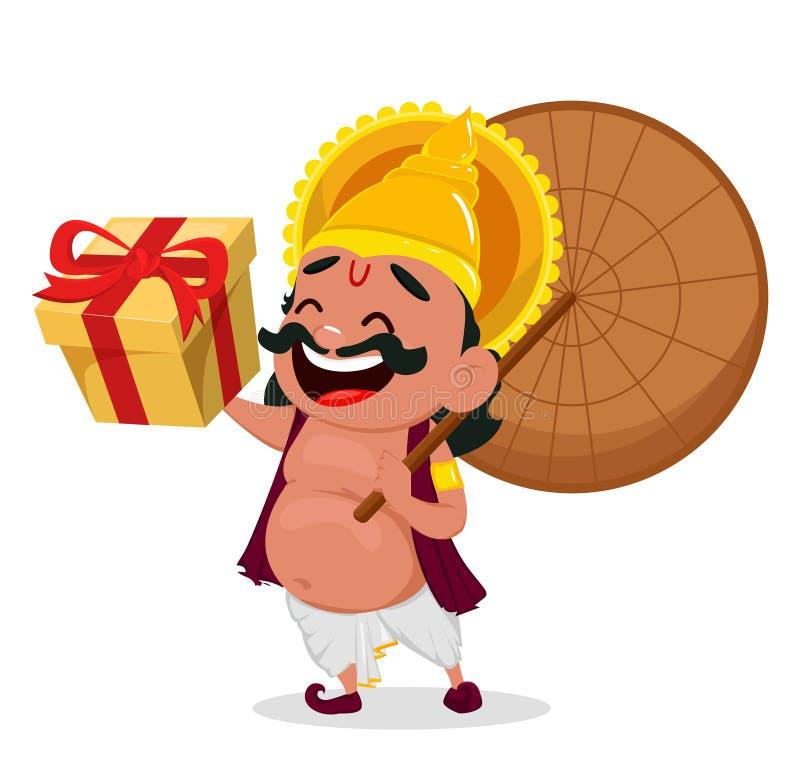 Εορτασμός Onam Ομπρέλα εκμετάλλευσης Mahabali βασιλιάδων και κιβώτιο δώρων, εύθυμος χαρακτήρας κινουμένων σχεδίων ελεύθερη απεικόνιση δικαιώματος