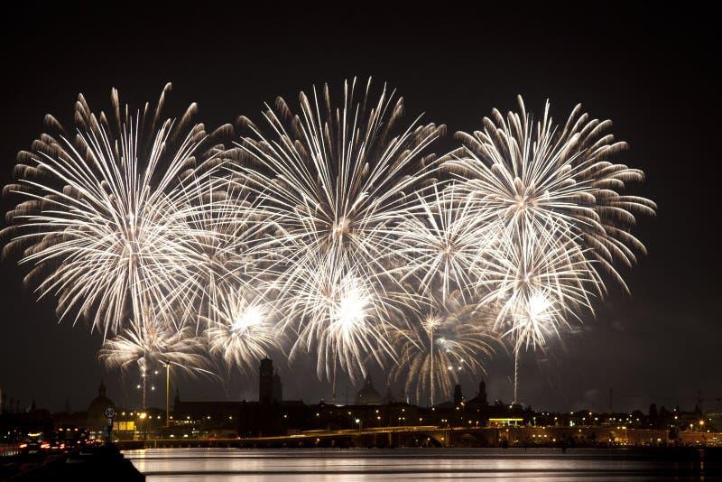 Εορτασμός Redentore πυροτεχνημάτων (Βενετία, Ιταλία) στοκ εικόνες με δικαίωμα ελεύθερης χρήσης