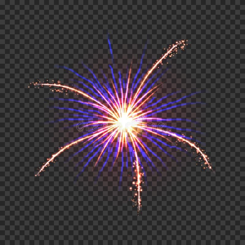 Εορταστικά πυροτεχνήματα με τους χρυσούς και μπλε σπινθήρες απεικόνιση αποθεμάτων