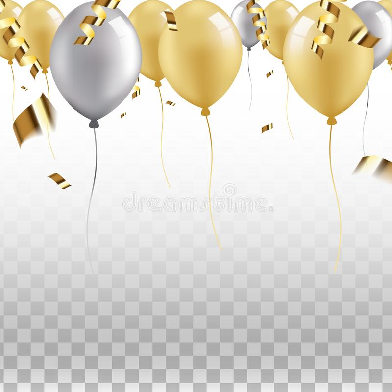 Εορταστικά σύνορα των χρυσών και ασημένιων μπαλονιών με τις πετώντας κορδέλλες και το κομφετί διανυσματική απεικόνιση