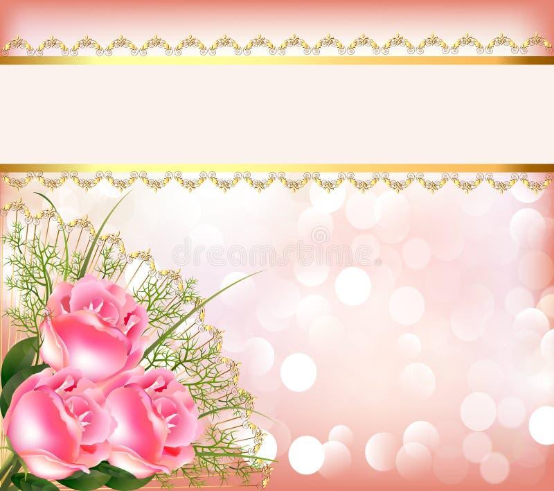 Εορταστική ανασκόπηση με την ανθοδέσμη των τριαντάφυλλων ελεύθερη απεικόνιση δικαιώματος