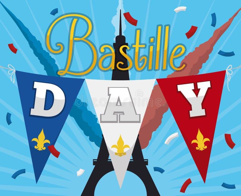 Εορταστική αφίσα με τη σκιαγραφία πύργων του Άιφελ για να γιορτάσει τη γαλλική ανεξαρτησία, διανυσματική απεικόνιση διανυσματική απεικόνιση
